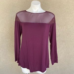 Burgundy Wine Mesh Accent Soft Modal Tunic Top
